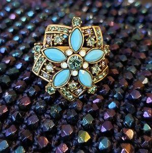 Heidi Daus Turquoise & Peridot Flower Ring